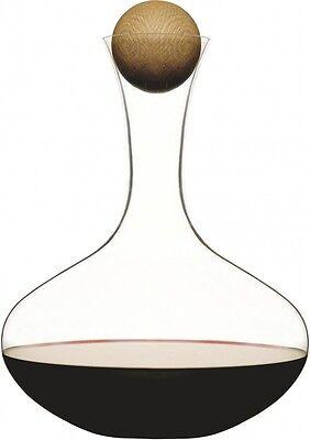 Sagaform Karaffe Oval Oak Rotweinkaraffe aus Glas Holzkugelverschluß Dekanter