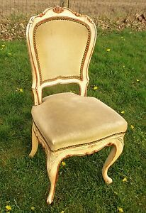 Elegant-Louis-Philippe-Antique-Chair-White-Beige-Velvet-Fabric-Carved-Wood