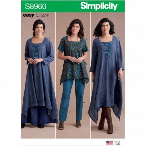 jupes Simplicity sewing pattern 8960 tuniques 6-8-10-12-14 pantalon H5