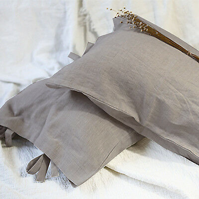 100/% French Linen Soft Pillow Covers Cases Shams Standard Size Tied Closure