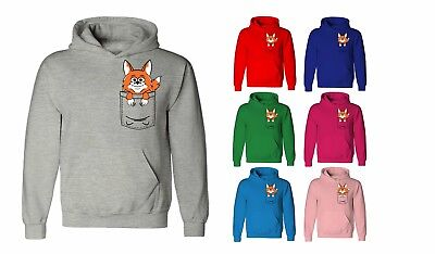 Kids Childrens Fox Cute Animal Pocket Print Sweater Sweatshirt Jumper