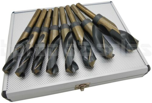 """8pc HSS COBALT SILVER /& DEMING DRILL BITS SET LARGE SIZE 9//16/"""" 1/"""" REDUCED SHANK"""