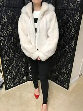 Final Sale!White mink fur jacket with hood. size M. great condition