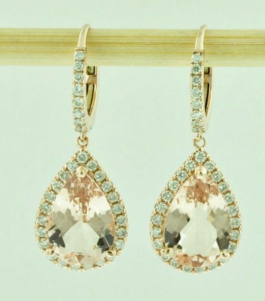 00734c503e1dc Earring Morganite & Diamond Natural gold pink Solid 14k Halo shape ...