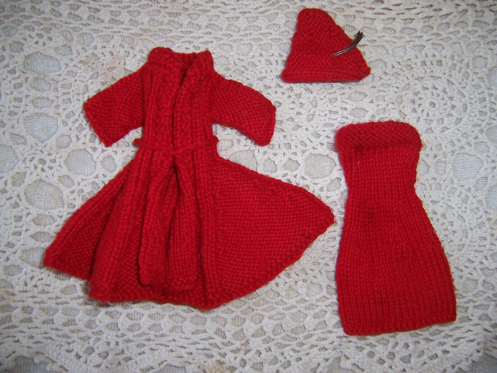 Lot of 40 Vintage Hand Knit Clothes for original Barbie