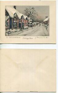 VINTAGE CHRISTMAS WARWICKSHIRE ENGLAND JOHN FRANCIS SMITH STONE LITHO ART CARD