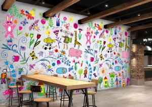 3D Graffiti Tier Kind 7045 Tapete Wandgemälde Tapeten Bild Familie DE Summer