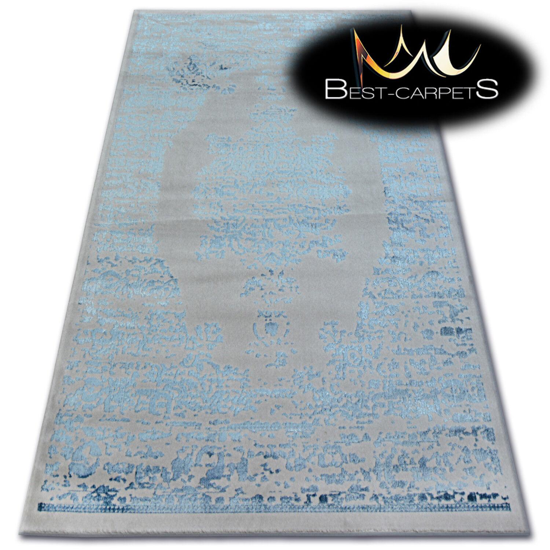 Très Doux Laine & Acrylique Tapis Bleu