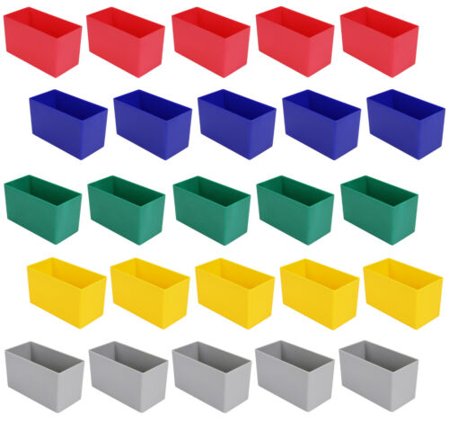 5 Farben 25 Kunststoff-Einsatzkästen E 63//2 für Schubladen 108x54x63 mm
