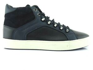 Tommy-Hilfiger-Men-039-s-Sneakers-High-Leather-Low-Shoes-Lace-up-Black-Moon