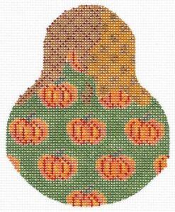 Handpainted-Needlepoint-KELLY-Clark-Pumpkin-Patterned-Pear-w-Stitch-Guide