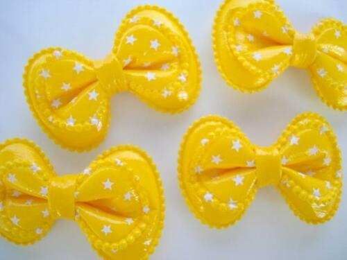 "20 BIG Patent Layer Polka Dots Bow 2/"" Applique//Craft//hair//hand made H185-Yellow"