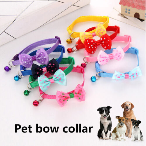 1 Pcs Pet Bow Collar with Bell Dog Puppy Cat Bowknot Neck Strap Dressing Favors