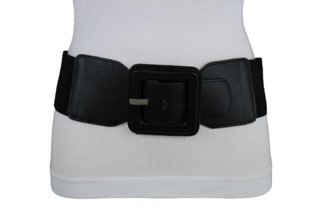 Women Hip High Waist Brown Elastic Wide Fashion Belt Round Buckle Size M L XL