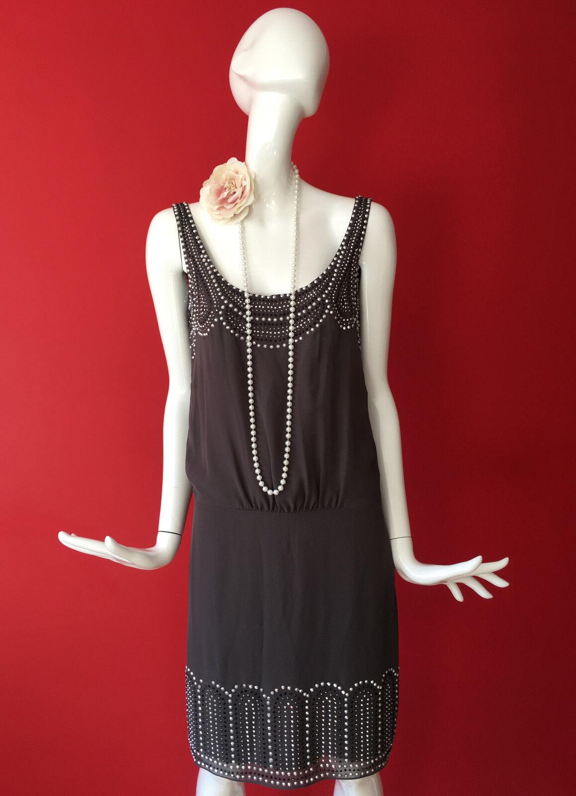 Warehouse grau Embellished Flapper 1920s Gatsby Charleston Dress Größe 8