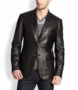 5c1c2863a14 Men s Genuine Lambskin Real Leather Blazer Jacket Two Button Slim ...