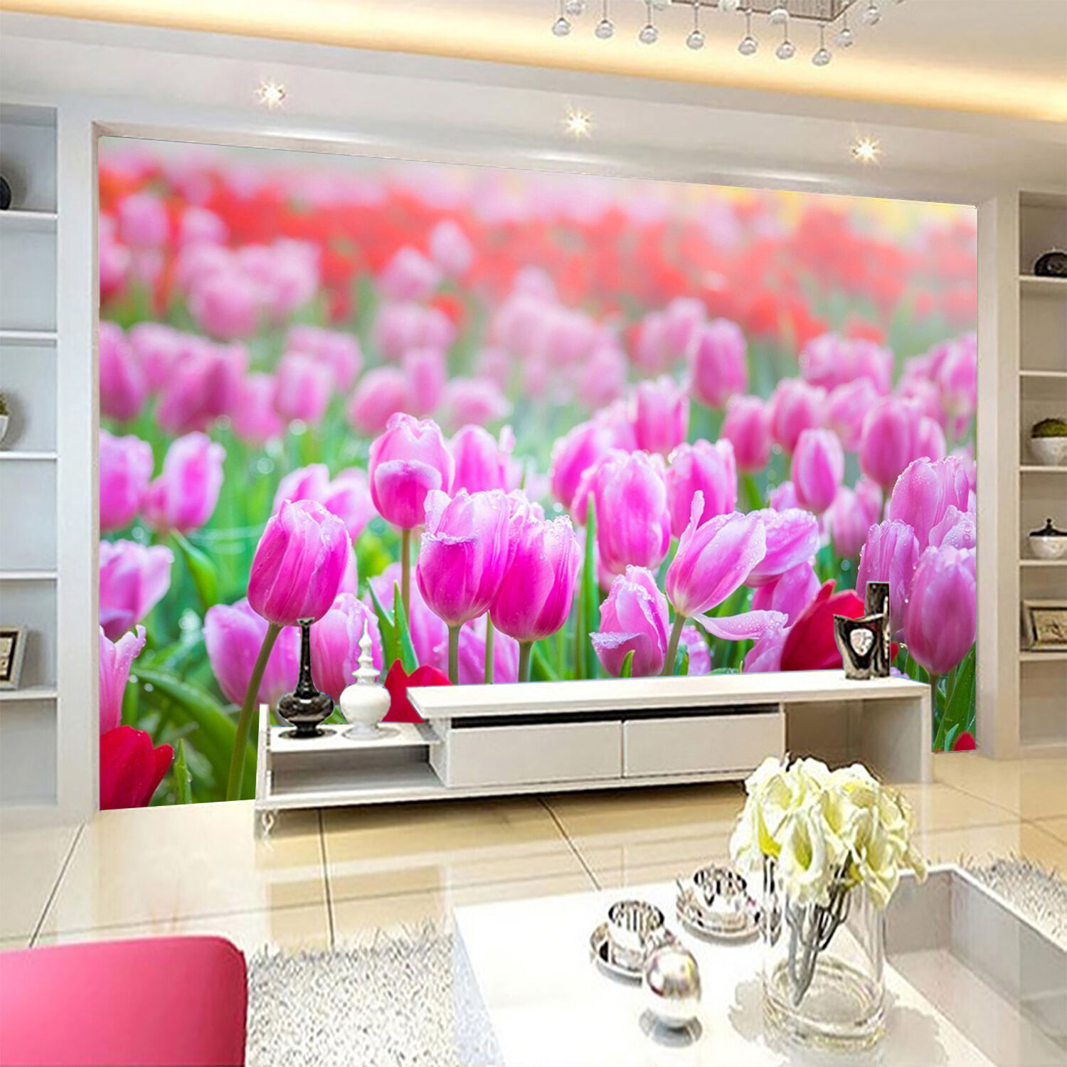 3D Tulip Flowers Field 2299 Paper Wall Print Wall Decal Wall Deco Indoor Murals