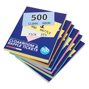 pack of 6 x a6 cloakroom raffle ticket books 1 500 numbered 2 copies