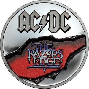 AC-DC-The-Razors-Edge-2-oz-silver-coin-black-proof-Cook-Islands-2019-in-OGP