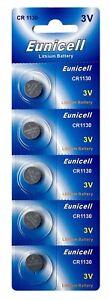 5-x-CR1130-3V-Lithium-Knopfzelle-48-mAh-1-Blistercard-a-5-Batterien-Eunicell