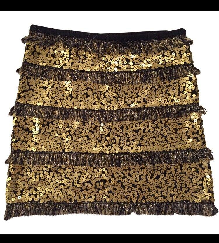 BEAYUKMUI Mini kjol med Sekiner och Fringae, Storlek 36
