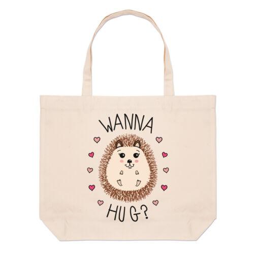 Hedgehog Wanna Hug Large Beach Tote Bag Love Valentines Day Funny Shoulder