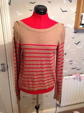 TOPSHOP angora mix  jumper vgc, 12, 40 camel with red stripes & buttons