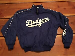 RARE-Majestic-MLB-Los-Angeles-Dodgers-On-Field-Thermal-Jacket-Blue-Sz-M-Men-039-s