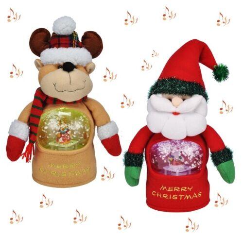Illuminated Snow Ball Christmas Santa /& Reindeer 2x singing christmas figure M