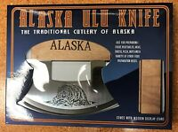 Alaska Ulu Knife With Wooden Stand In Box Fishing Bear