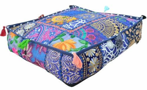 "Home Ottoman Pouf Patchwork 18/"" Vintage Cushion Large Indian Square Floor Pillow"