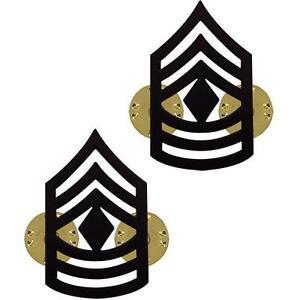 a9270fe7e75 2 FIRST SERGEANT 1stSGT E-8 REGULATION BLACK CHEVRON LAPEL HAT PIN ...