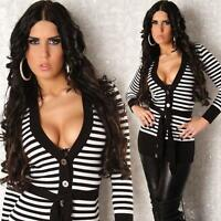 New Sexy Ladies Womens Jumper V-Neck Striped Cardigan Tunic Sweater Top ML 10/12