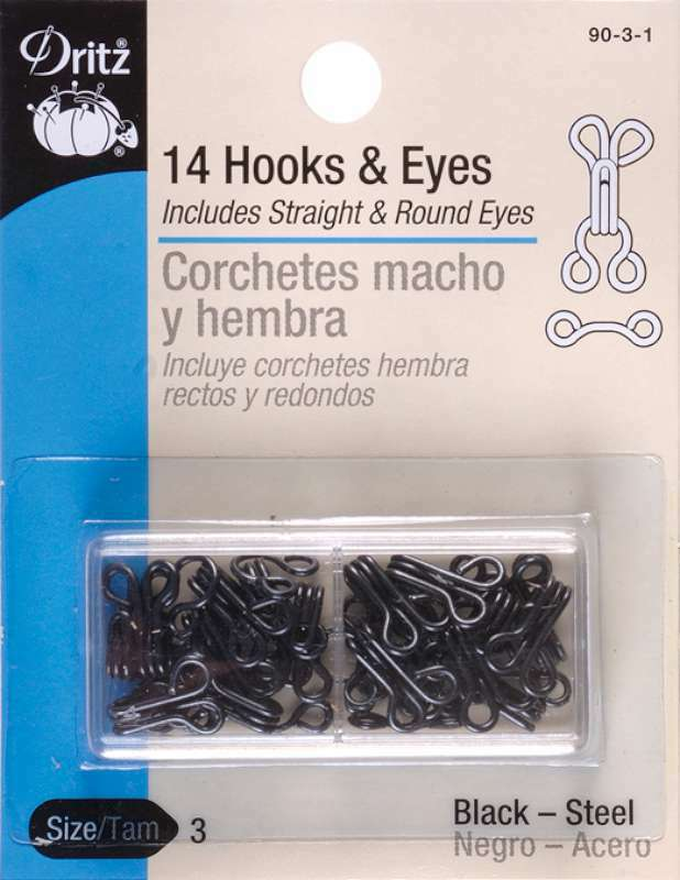 DRITZ NOTIONS DRI90-3.1  DRI90-3 1 DRITZ HOOKS EYES SIZE 3 BLACK