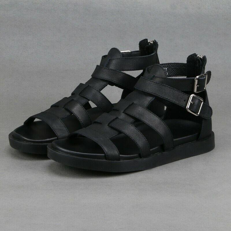 Para Hombres Cuero Zapatos Sandalias Gladiador Romano Cremallera Alta Tobillo Alto Correa Lit01