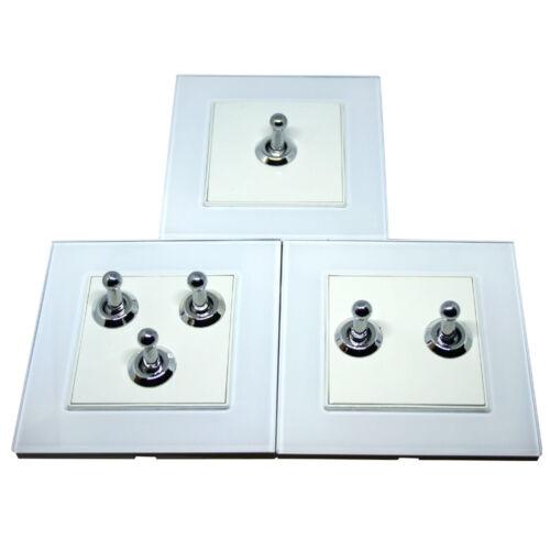 1 2 3 Gang Wall Light Toggle foie Interrupteurs Finition En Verre vis-moins Noir//Blanc