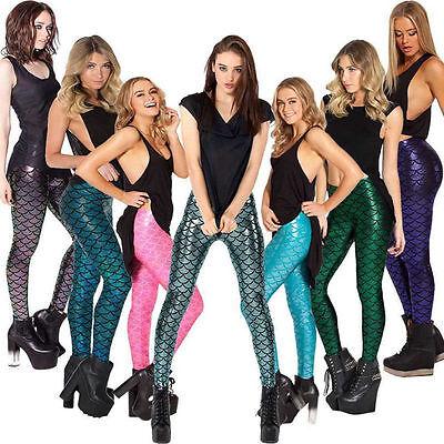 Holographic Mermaid Leggings Fish Scale Metallic Geometric Skinny Pants Trousers