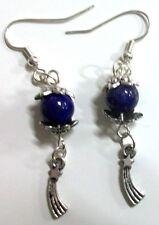 Handmade Lapis Lazuli Gemstones w Comet Charms Silver Plated Dangle Earrings
