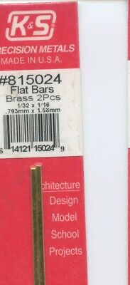K/&S Metals #815049 NEW 12 in BRASS 2-pieces SQUARE BAR 1//16x1//16in 1.59x1.59mm