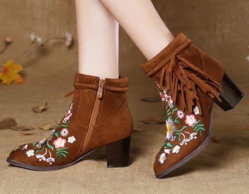 Womens Fashion Embroidered Floral Suede Retro Tassels Zippers Ankle Boots Shoes