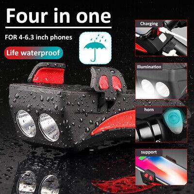 USB Rechargeable LED Bicycle Headlight Cycling Bike Horn Handlebar Phone Holder