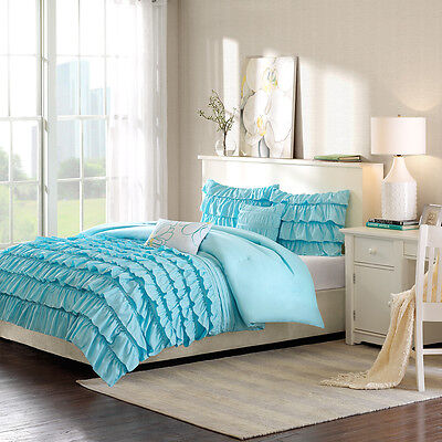 BEAUTIFUL MODERN BLUE TEAL AQUA WHITE RUFFLED PLEAT RUCHED TEXTURE COMFORTER SET