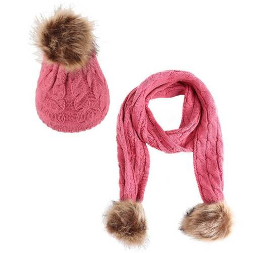 UK Baby Kids Girls Boys 2 Pcs Set Scarf and Hat Pompon Toddler Winter Warm 1-6Y