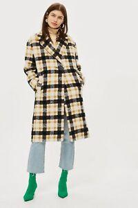 Topshop 36us4 150 £ Coat Coat Jaune Taille 8 Heavy Midi Rrp wRR1YqrF