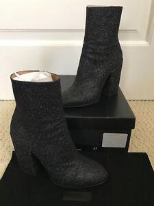 f33a409a05 Dries Van Noten Black Glitter Chunky Heel Cap Toe Ankle Boots ...