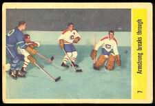 1958 59 PARKHURST HOCKEY 7 JACQUES PLANTE ARMSTRONG BREAKS THROUGH VG CANADIENS