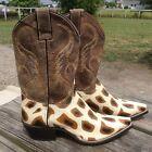 Women's Nocona giraffe stingray print leather Cowboy /Western Boots snip toe