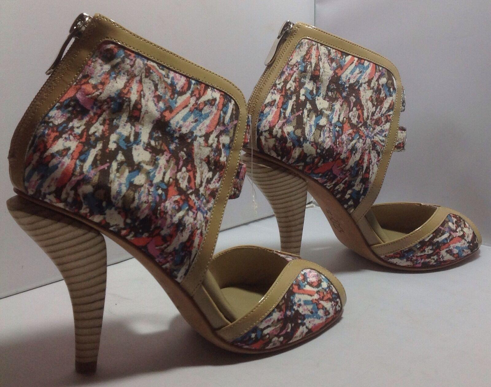 New Ask Alice Multi Farbeed Zip Booties High Heeled Peep-toe Fabric Booties Zip Größe 37 5f7d08