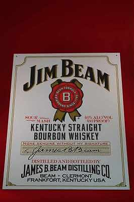 Bier, Wein & Spirituosen GroßZüGig 40x30 Cm Jim Beam Whiskey Us Blechschild White Sour Mash Bourbon Kentucky Sign