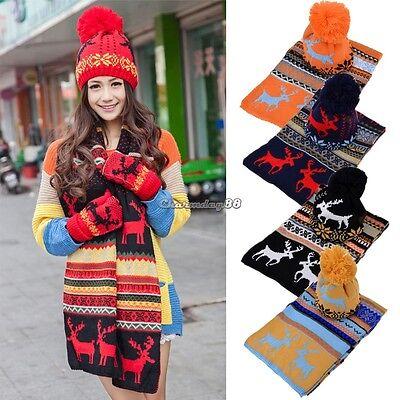 Bohimia Women Deer Winter Warm Thickening Knitting Long Scarf Shawl Ski Hat Set